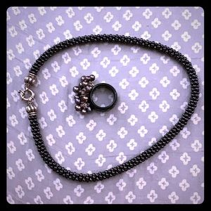 LAGOS black bead necklace 16""